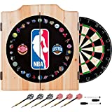 NBA Team Logos Design Deluxe Solid Wood Cabinet Complete Dart Set