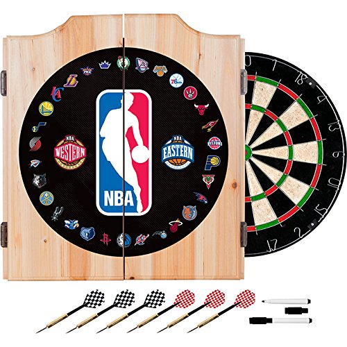 NBA Team Logos Design Deluxe Solid Wood Cabinet Complete Dart Set by TMG