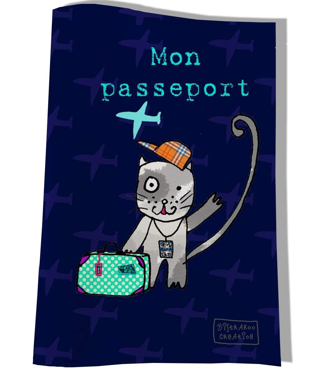 Protège passeport pour chat, étui pochette de protection, Coloris bleu, réf. P2254-2015