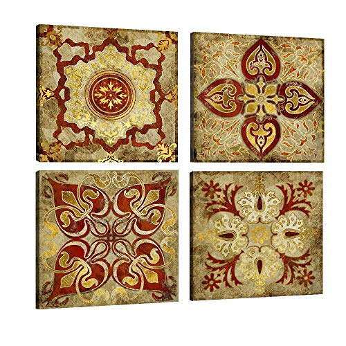 s Wall Art Retro Moroccan Style Gold National Decoration Pattern India Home Decor Painting Canvas Pictures Posters Photos Livingroom Bedroom Framed Ready to Hang (16
