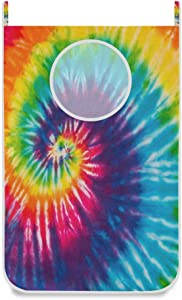 Swirl Rainbow Tie Dye Door Hanging Laundry Hamper Bag Space Saving Wall Large Laundry Basket Storage Dirty Clothes Bags with Bottom Zippers Hooks for Bathroom Bedroom 1 Pcs