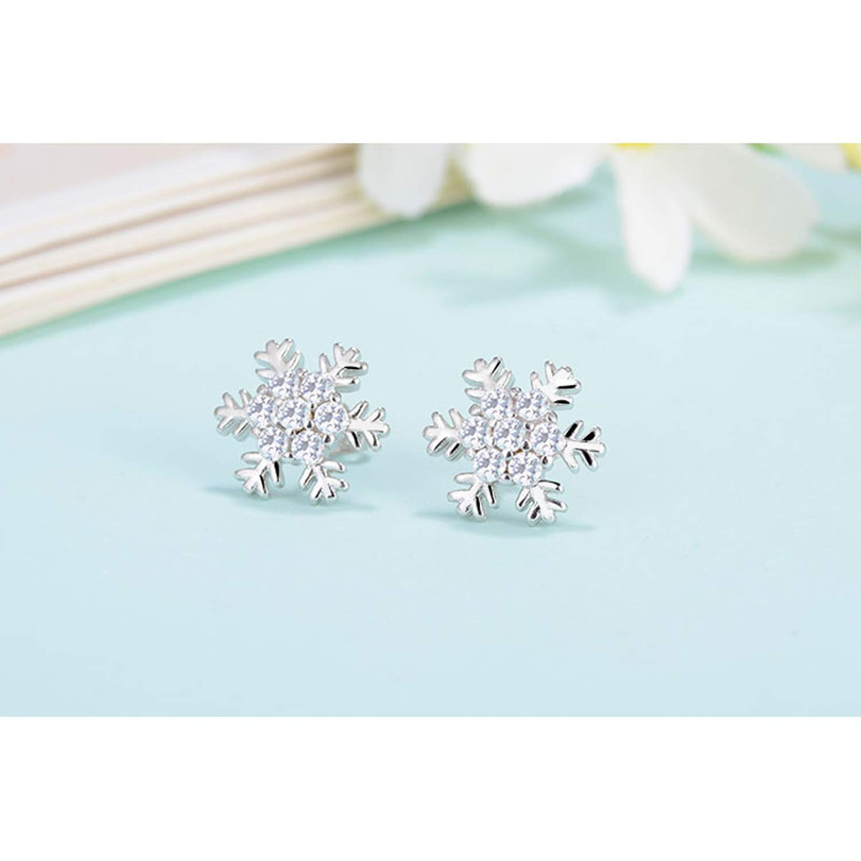 Snowflake Gift Stud Earrings for Women Girls 925 Sterling Silver Top Grade Cubic Zirconia Crystal Jewelry