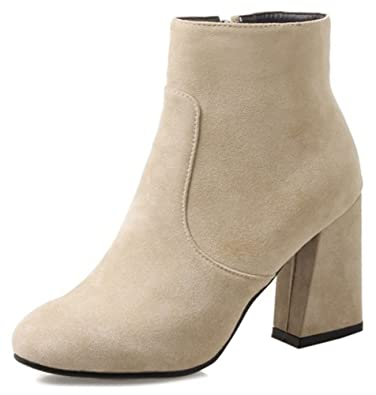 Women's Trendy Zip Up Round Toe Faux Suede High Chunky Heel Short Ankle High Boots