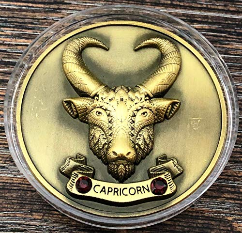 MY ZODIAC COIN CAPRICORN Compatible for SWAROVSKI ® CRYSTALS, 3D, GLOW IN THE DARK GOLD
