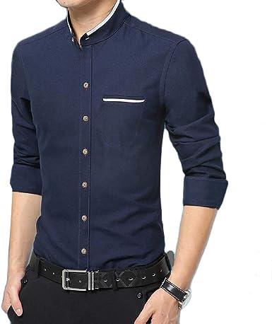 Cromoncent Mens Classic Long-Sleeve Slim Shirt Plaid Checkered Shirt