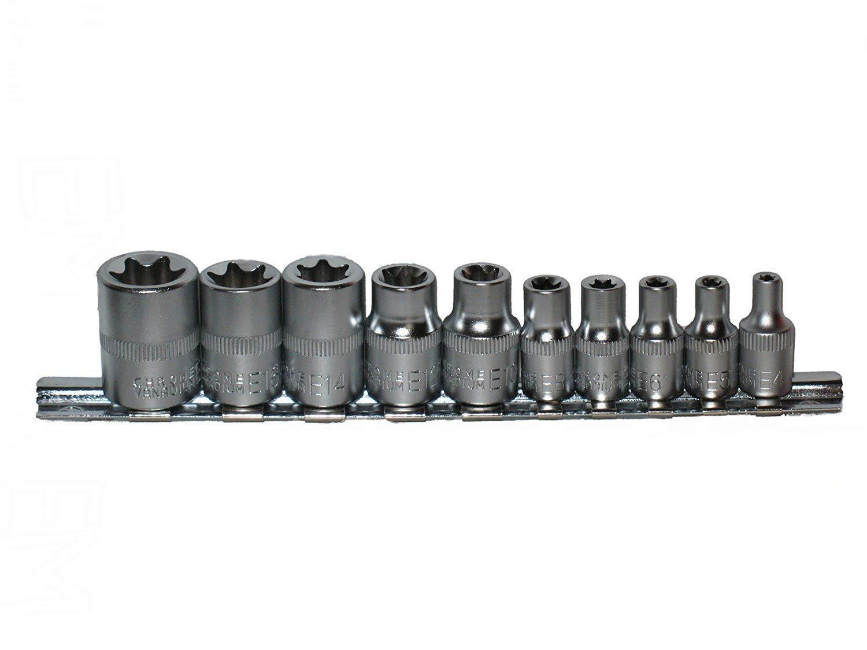 neilsen CT0732 External Female TORX Bit Star E Socket Set 1/4 & 3/8 Dr,  Black