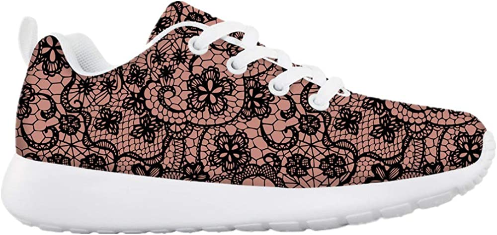 HMML Kids Fashion Sneakers Casual Easy Walk Shoes Ultra Breathable Mesh Sport Running Walking Shoes Lace Pattern Floral Print Sneaker for Girls Kids Toddler