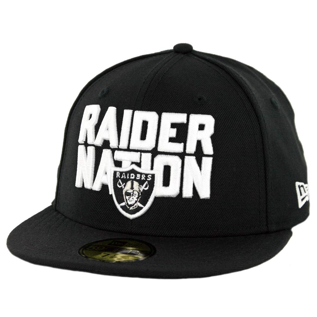 7351add932ce1 Amazon.com : New Era 5950 Oakland Raiders Raider Nation Fitted Hat (Black)  Men's NFL Cap : Clothing