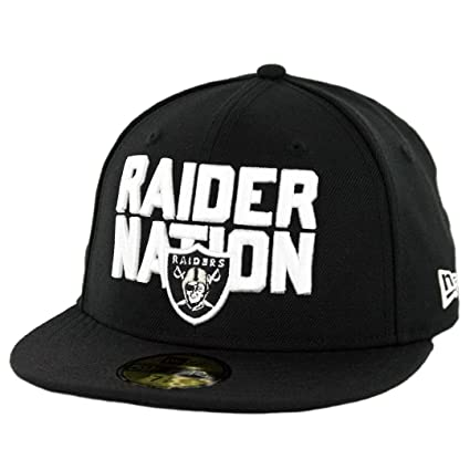 b434d30a770 Amazon.com   New Era 5950 Oakland Raiders Raider Nation Fitted Hat (Black)  Men s NFL Cap   Sports   Outdoors