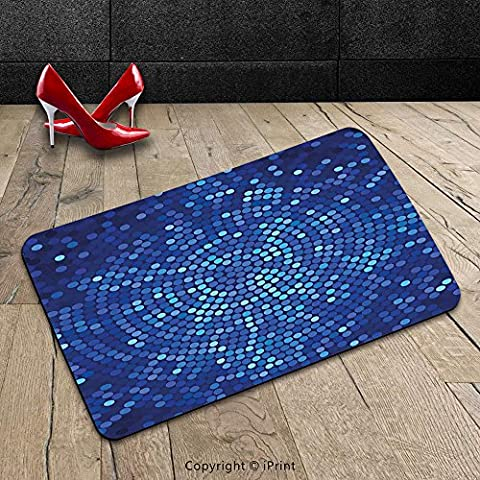 Custom Machine-washable Door Mat Abstract Spiral Fractal Mosaic Backdrop with Dots Circle Rounds Disco Style Print Navy and Violet Blue Indoor/Outdoor Doormat Mat Rug - Mosaic Outdoor Rug