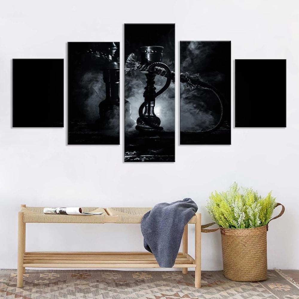 baixiangguo Cachimba Que Fuma Blanco Y Negro Cuadros Decoracion Salon 5 Piezas Carteles Impresos Sala De Estar Decoración del Hogar Lienzo Modular Imágenes Arte De La Pared-150 x 80 cm