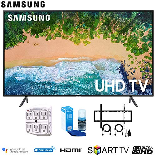 """Samsung 50NU7100 50"""" NU7100 Smart 4K UHD TV 2018 with Wall Mount + Cleaning Kit (UN50NU7100)"""