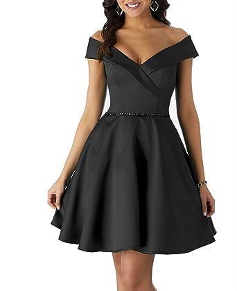 efec3a59491 Short Homecoming Dresses Satin A Line Off Shoulder Beaded Prom Formal  Evening Gowns 2019 Black