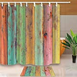 CdHBH Vintage Wallpaper colorful Artwork Painted on Wood 71X71in Mildew Resistant Polyester Fabric Shower Curtain Suit With 40x60cm Flannel Non-Slip Floor Mat Bath Rugs