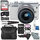 Canon EOS M100 Mirrorless Camera w/ 15-45mm Lens & WiFi (White) + 32GB + Battery Charger Replacement + Xpix Tripod + Accessory Bundle