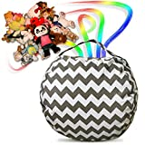 SimplyYEM Storage Bean Bag Chair - Ultimate Toy Organizer for Kids - Comfortable Canvas Basket Holds Stuffed Animals, Clothes, Blankets, More: Extra-Wide Handle, Premium Seams, Zipper