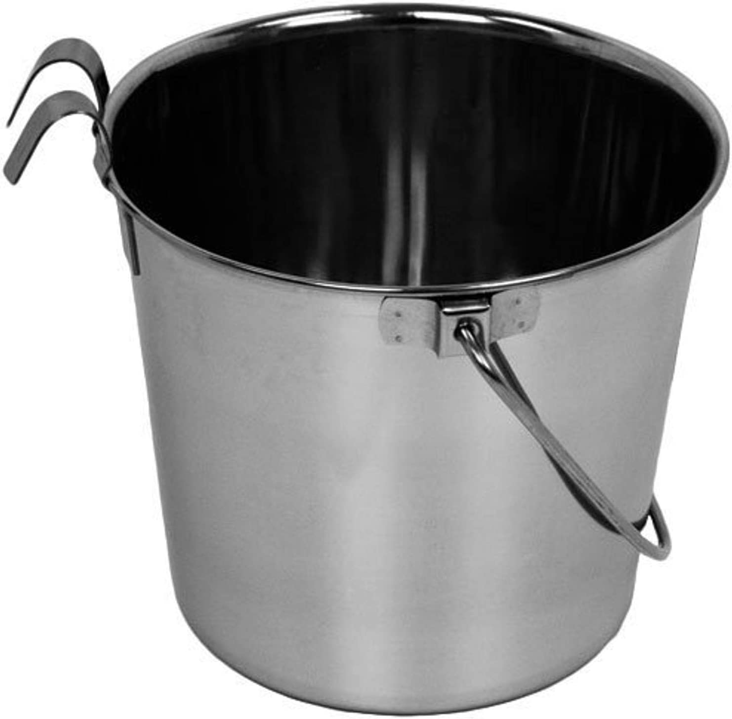 Advance Pet Products Heavy Stainless Steel Flat Side Bucket with Hook