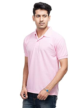 e16b5fd1b kalpit creations Men's Comfort Soft Cotton Plain Polo Collar Half Sleeve T- Shirt (Pink