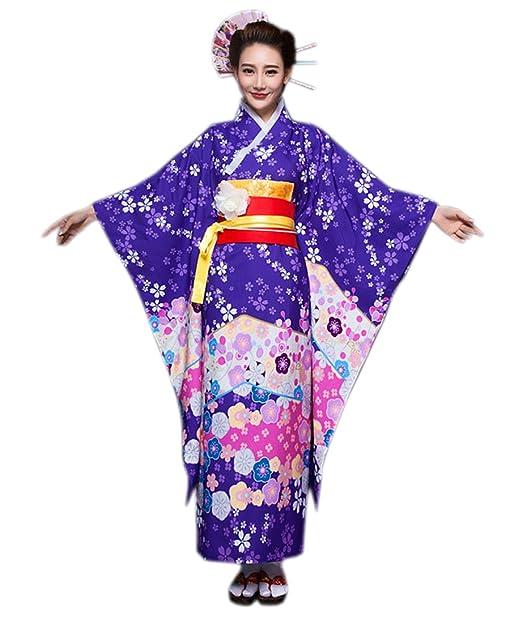 Amazon.com: Yuelian Mujer Kimono tradicional japonés Yukata ...