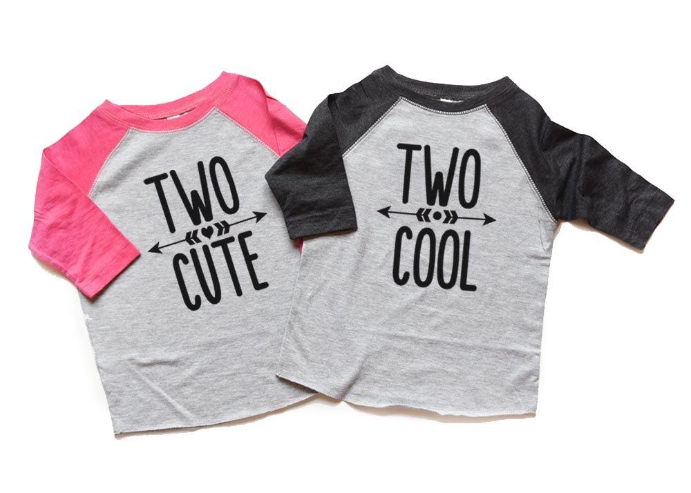 Heads up shirt designs Twin Boy or Girl Second Birthday Raglan Shirts Two Cool Two Cute Toddler Twins 2nd Bday 2 by Heads up shirt designs