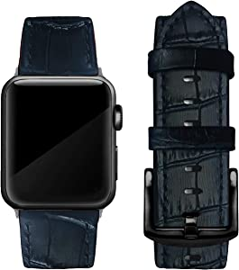 Genuine Leather Band Compatible with Apple Watch 38mm 40mm 42mm 44mm, Replacement Bands, Compatible with Series 5/4/3/2/1, Alligator Print, Black Buckle (Navy Blue - Square Buckle, 42mm / 44mm)