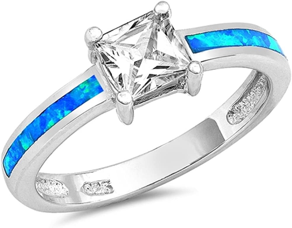 CloseoutWarehouse Princess Cut Center Cubic Zirconia Simulated Opal Ring 925 Sterling Silver