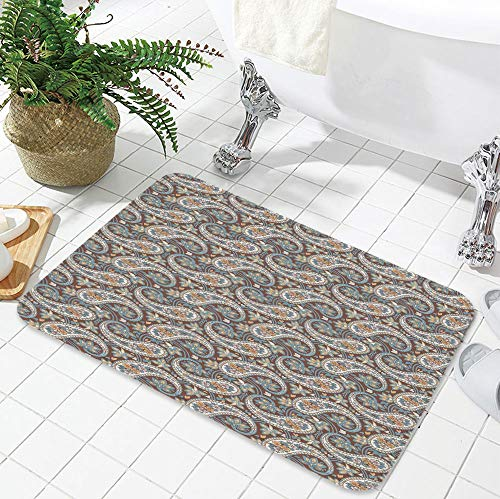 (YOLIYANA Bath Mat,Paisley,for Dining Room Bathroom Office,23.62