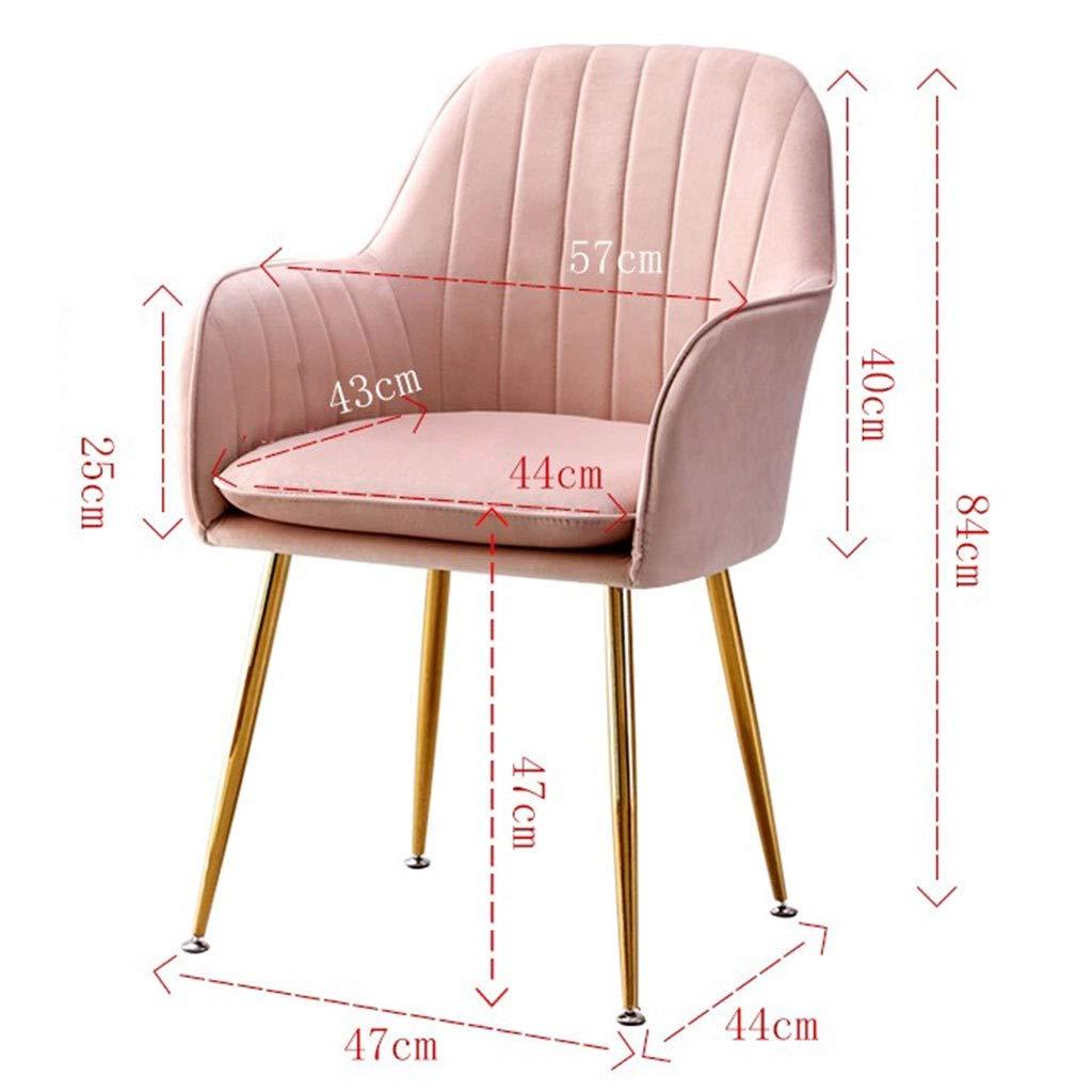 HEJINXL Matstol, sammet oberoende kudde te kaffestol hem designer smidesjärn hem arbetsrum kontor stol kök stol uppsättning med 2 (färg: D) a