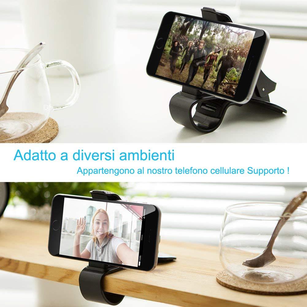 Supporto Smartphone per Auto Cruscotto GPS HUD, supporto per auto per montaggio su auto ZOORE per iPhone compatibile X / 8 / 8P / 7 / 7P / 6s / 6 / 6P, Huawei, Samsung, HTC - Nero