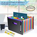 Techtest 24 Pockets File Folder for Certificates A4 Size Plastic Expanding Sheet Holder for Student Office School Document Organizer Paper Storage with Month Flap (24 Pockets)
