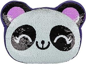"16"" Reversible Sequin Pillow | Select your Favorite Colorful Design Llama, Narwhal, Panda, Penguin, Donut, Watermelon, Sloth, Alpaca & More | Playful Addition to Kids Bed or Playroom (Panda)"