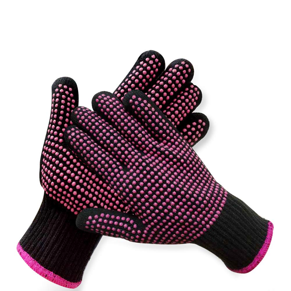 2 Pcs Professional Heat Resistant Glove for Hair Styling Heat Blocking Gloves for Curling, Flat Iron and Hair Styling Tools, Silicone Bump, Pink Edge
