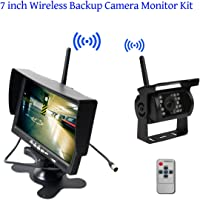 Built-in Wireless Truck Parking System - 12-24V Backup Camera + 7 inch HD LCD TFT Rear View Monitor Parking Kit IR Night…