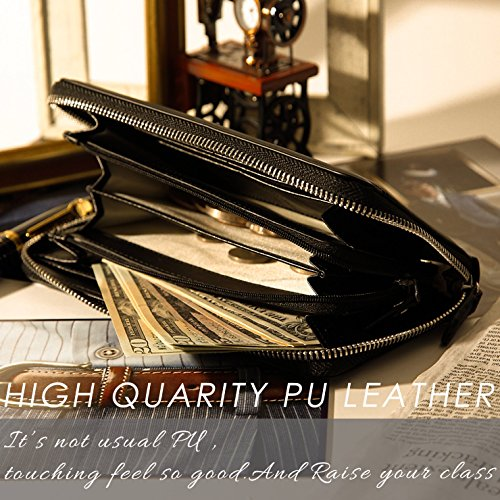 Lustear Women's Zip Around Long Wallets With Zipper Coin Purse (Black×Red) by Lustear (Image #7)