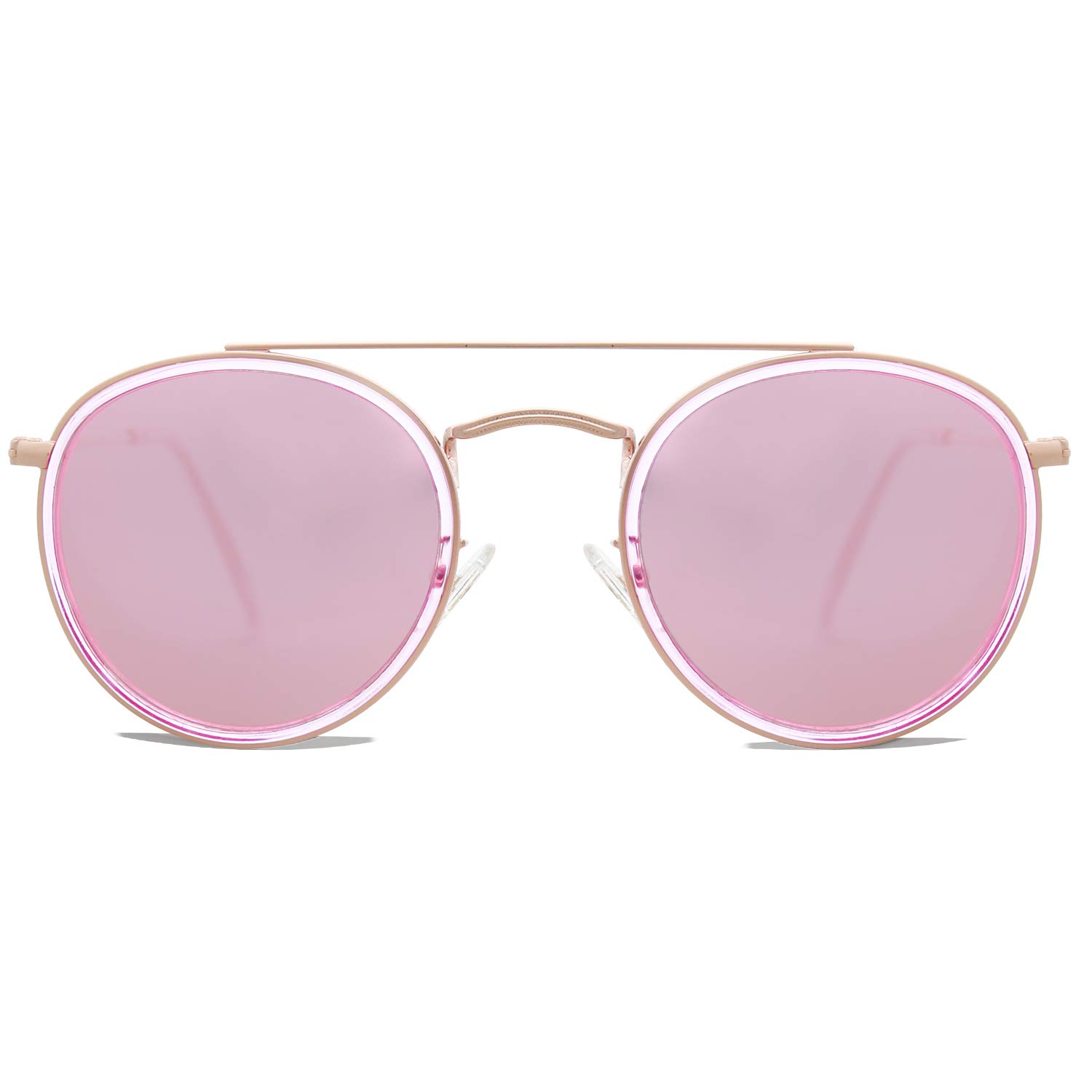 SOJOS Small Round Polarized Sunglasses Double Bridge Frame Mirrored Lens SUNSET SJ1104 with Rose Gold&Transparent Pink Frame/Rose Gold Mirrored Polarized Lens by SOJOS