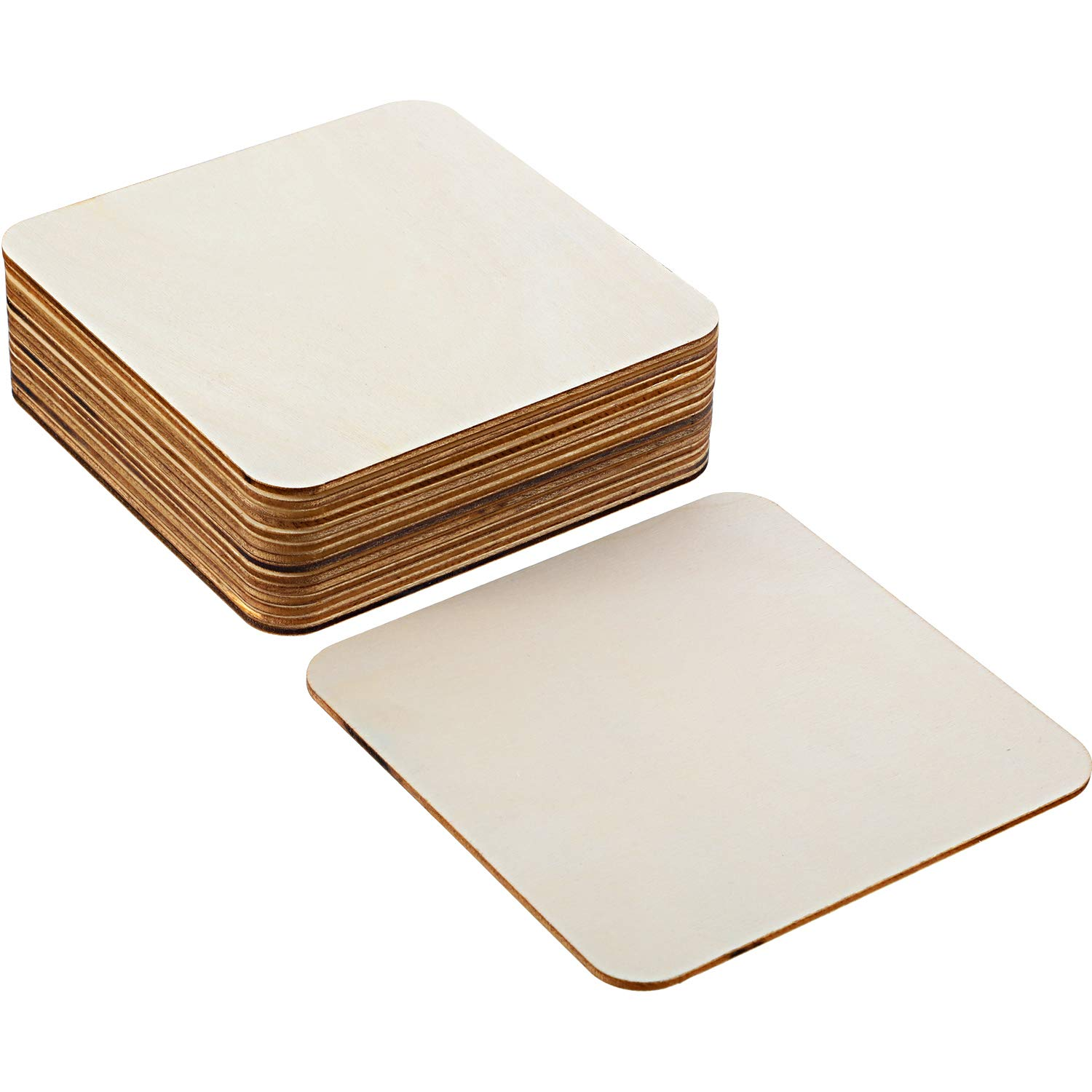 Boao Blank Wood Squares Wood Pieces Unfinished Round Corner Square Wooden Cutouts for DIY Arts Craft Project, Decoration, Laser Engraving Carving (3 x 3 Inch, 36 Pieces)