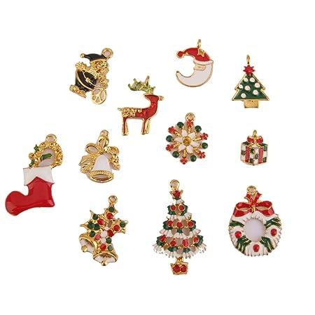 christmas charms pendants jewelry findings set of 11pcs gold - Christmas Charms