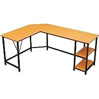 GreenForest L Shaped Desk with Storage Shelf