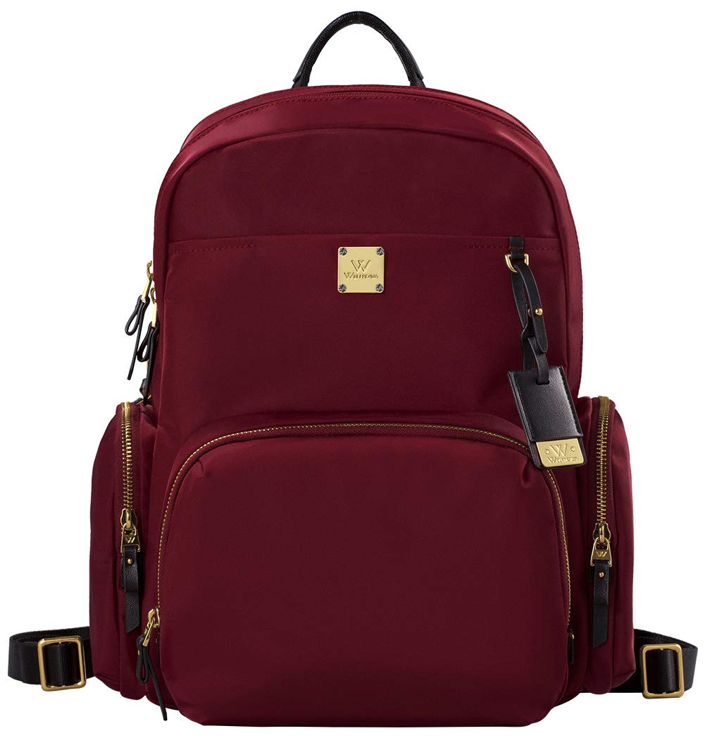 Wolfrealm Business Backpack Laptop Backpack Purse for Women Lightweight Waterproof Travel Bags Ladies Notebook Bag (fit 14.1 inches,Wine Red)