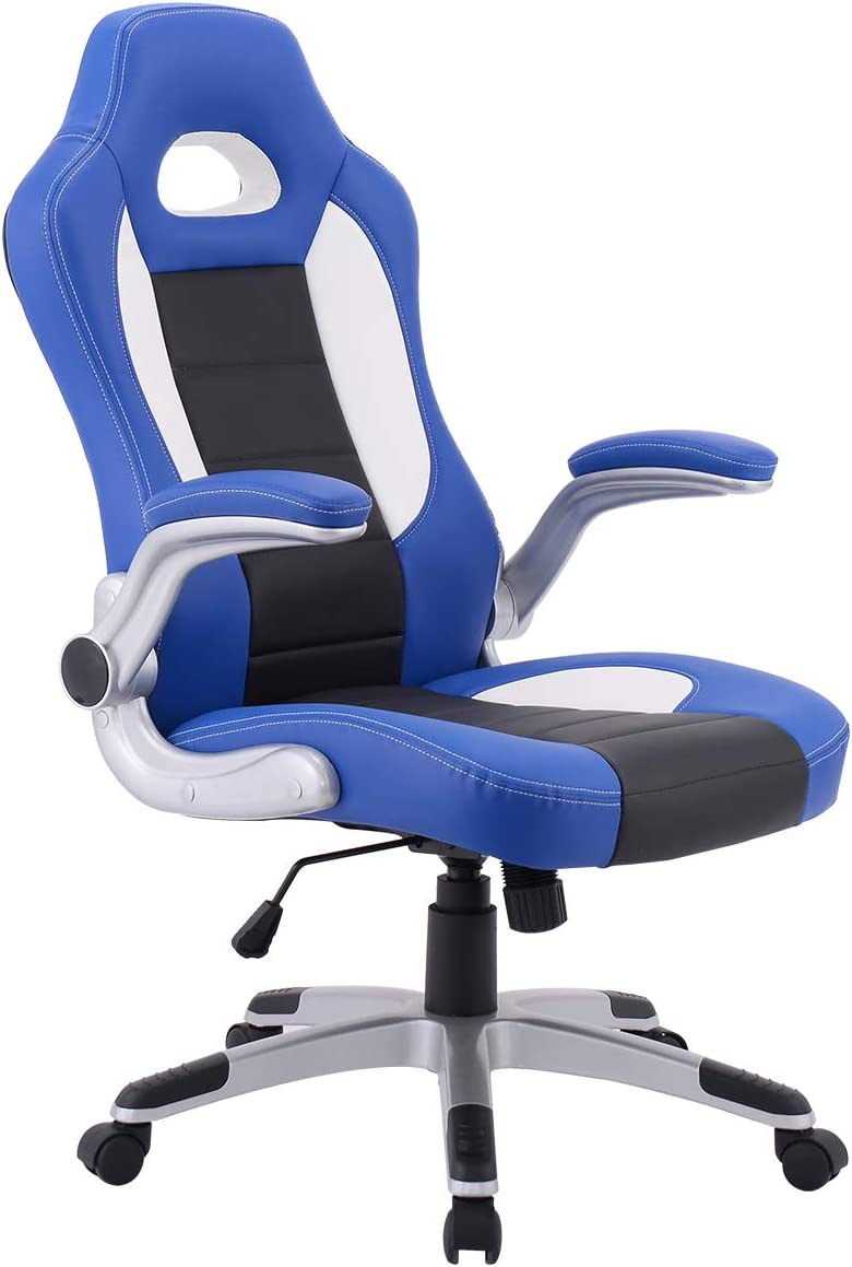 Giantex Ergonomic Gaming Chair High Back Leather Computer Executive Chair, Racing Style Bucket Seat Adjustable Swivel Chair, Office Desk Chair Video Game Chairs w Armrest Blue
