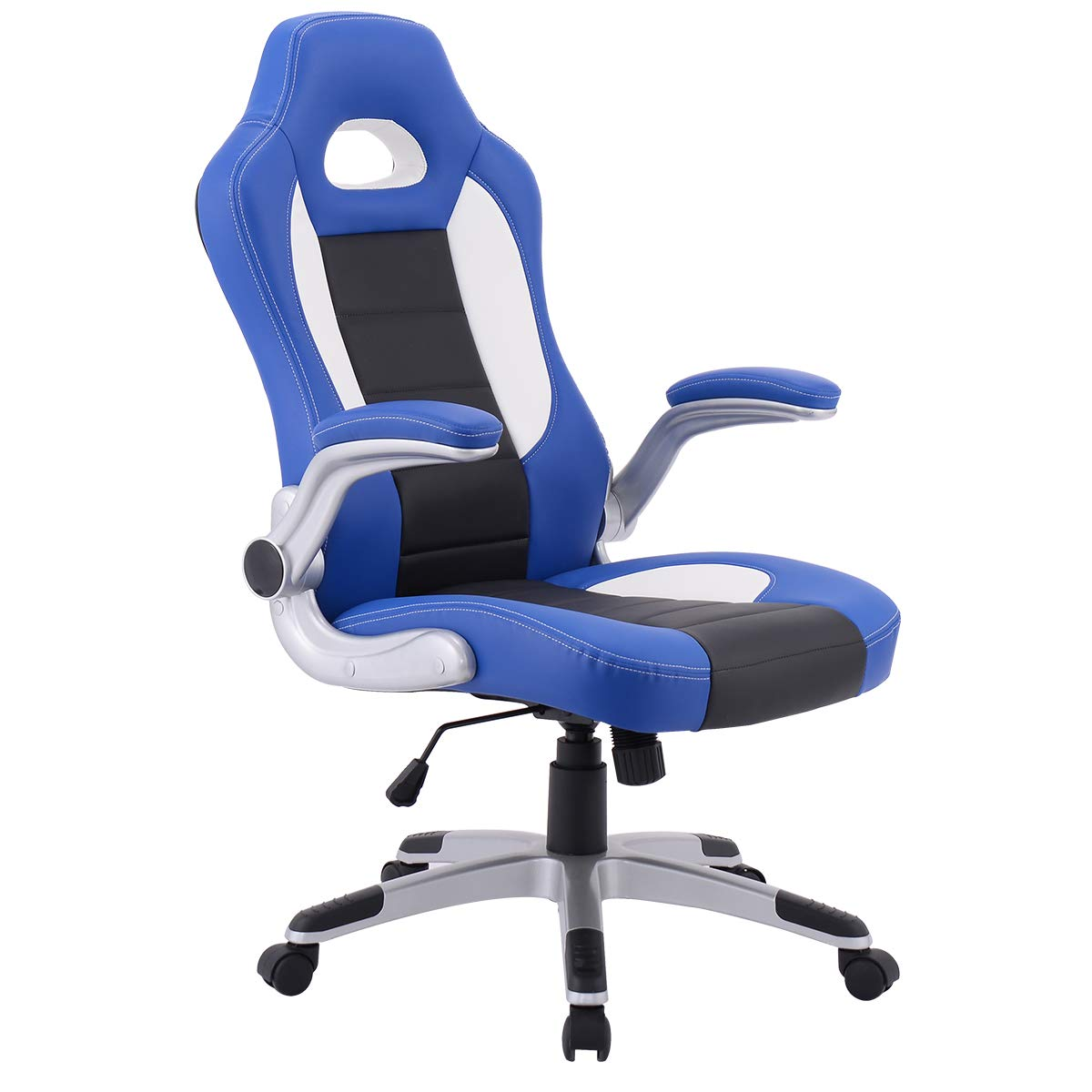 Giantex Ergonomic Gaming Chair High Back Leather Computer Executive Chair, Racing Style Bucket Seat Adjustable Swivel Chair, Office Desk Chair Video Game Chairs w/Armrest (Blue) by Giantex