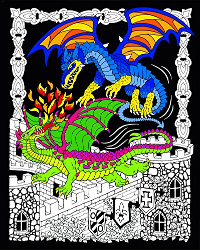 Amazon Com Stuff2color Dueling Dragons 16x20 Fuzzy Velvet