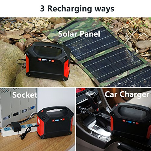 Portable Generator Power Inverter 42000mAh 155Wh Rechargeable Battery Pack Emergency Power Supply for Outdoor Camping Home Charged by Solar Panel Wall Outlet Car with 110V AC Outlet 3 DC 12V USB Port by ISUNPOW (Image #5)