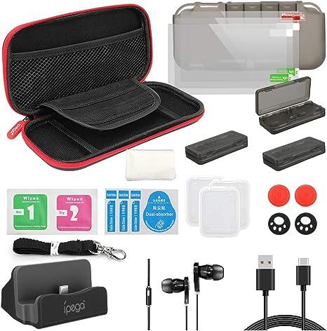 18 en 1 Kit de Accesorios para Nintendo Switch, Funda para Nintendo Switch, Funda Protectora de Silicona | Funda de Transparente | Protector de Pantalla | Tapas para Joystick | Soporte Ajustable: Amazon.es: Videojuegos