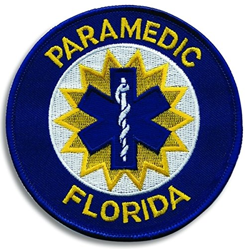 FLORIDA PARAMEDIC - (Iron-On) Shoulder Patch, Star of Life, Royal Blue Border, 4