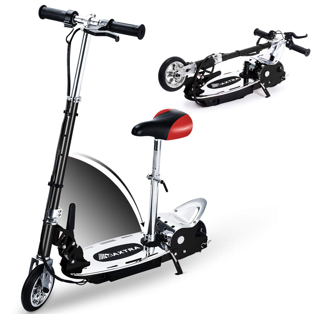 Overwhelming Upgrade E120 Adjustable Handlebar Height and Seat Folding Electric Scooter with Removable Seat for Kids,177lbs Max Weight Capacity Motorized Bike, up to 10 mph - Black by Overwhelming