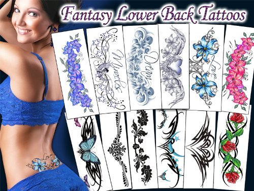 TEMPORARY TATTOO FACTORY Fantasy Lower Back Tattoos Package