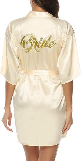 Gold Satin Kimono Style Silk Gown Bridal Party Robes In Petite /& Plus Sizes