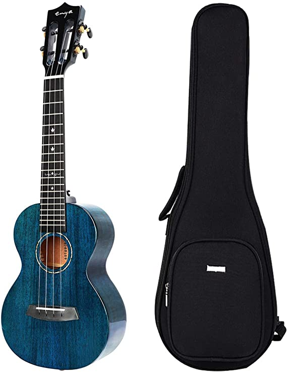 Enya EUC-MAD Concert Ukulele Solid Gloss Mahogany 23 Inch Wiping Blue with High-end 15mm Padded Gig Bag