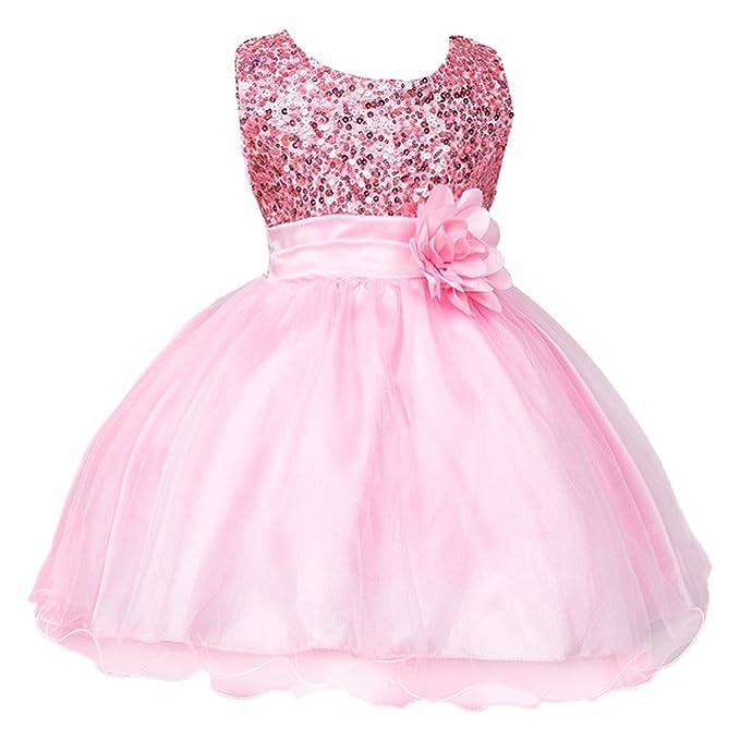 IWEMEK Mädchen Kinder Mit Kleider Pailletten Blumenmädchenkleider ...